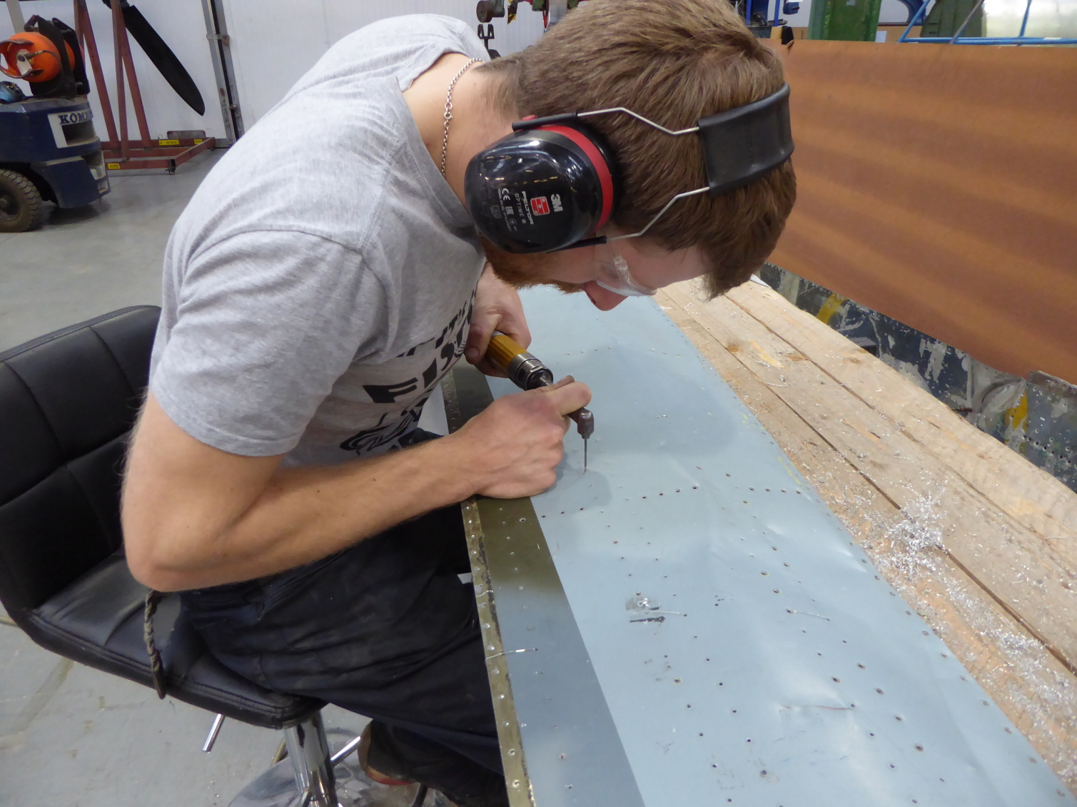 Drilling the rivets